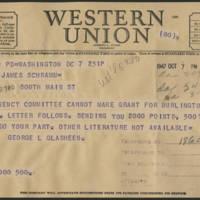 1947-10-07 Telegram George L. Glasheen to Mrs. Dorothy Schramm