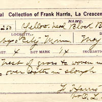 Frank Harris, egg card # fh002u