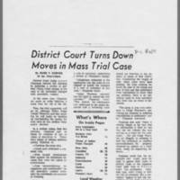 """1971-01-12 Iowa City Press-Citizen Article: """"""""District Court Turns Down Moves in Mass Trial Case"""""""" Page 1"""