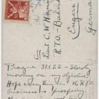 1922-01-31 Postcard: Robert M. Browning to LT. C.W. Hanna - Back
