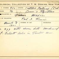 Thomas Wilmer Dewing, egg card # 356