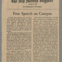 "1965-10-26 Des Moines Register Article: """"Free Speech on Campus"""" Page 1"