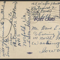 1945-03-19 H.T. Wehr to Dave Elder Postcard