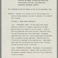 """""""An Ordinance To Reestablish The Burlington Human Rights Commission"""" Page 1"""