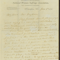 Susan B. Anthony letter to Caroline Ingham, June 4, 1876