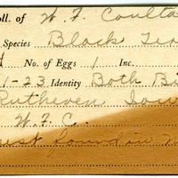 William F. Coultas, egg card # 012
