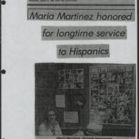 "1982-08-11 Iowa City Press-Citizen Article: """"Maria Martinez honored for longtime service to Hispanics"""" by Marcia Kirlin Page 1"