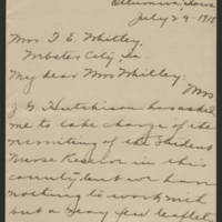 1918-07-29 Isabelle M. Hofmann to Mrs. F.E. Whitley Page 1