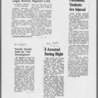 "1971-05-12 ICPC Articles: """"Dorm Groups Contemplate Legal Action Against City"""" Faculty Senate Calls for 'Full Investigation'"""" """"8 Arrested During Night"""" """"Patrolmen, Students are Injured"""""