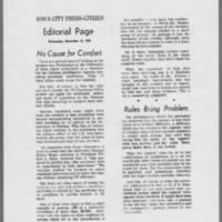 "1970-12-16 IowaCity Press-Citizen Editorial: """"No Cause for Comfort"""""