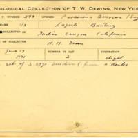 Thomas Wilmer Dewing, egg card # 487