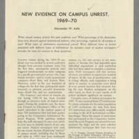 New Evidence on Campus Unrest, 1969-70 Page 1