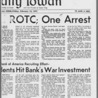 """1971-02-12 Daily Iowan Article: """"""""Protesters Raid ROTC; One Arrest"""""""" Page 2"""