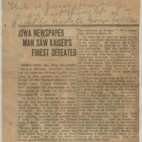 "1918-08-14 Clipping: """"Iowa Newspaper Man Saw Kaiser's Finest Defeated"""""