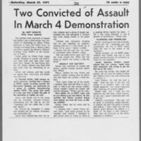 """1971-03-27 Daily Iowan Article: """"""""Two Convicted of Assault In March 4 Demonstration"""""""""""