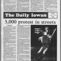 """1972-05-10 Daily Iowan Article: """"""""3,000 protest in streets"""""""""""