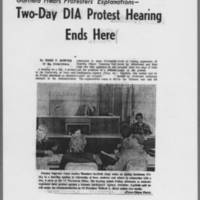"""1971-02-06 Iowa City Press-Citizen Article: """"""""Two-Day DIA Protest Hearing Ends Here"""""""" Page 1"""