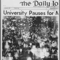 "1969-10-16 Daily Iowan Article: """"University Pauses for Moratorium"""" Page 1"