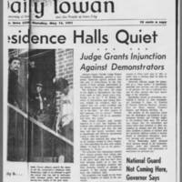 "1971-05-13 Daily Iowa Article: """"University Residence Halls Quiet"""" Page 2"