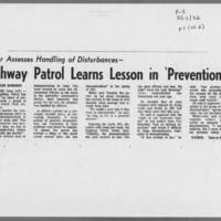 """1972-05-17 Iowa City Press-Citizen Article: """"""""Highway Patrol Learns Lesson in 'Prevention'"""""""" Page 1"""
