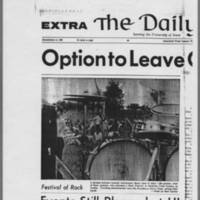 """1970-05-11 Daily Iowan Article: """"""""Option to  Leave Given Students"""""""" Page 1"""
