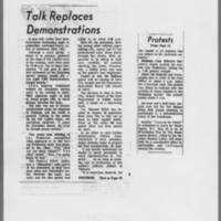 "1972-05-11 Iowa City Press-Citizen Article: """"Talk Replaces Demonstrations"""""