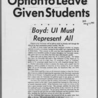 """1970-05-11 Daily Iowan Article: """"""""Option to Leave Given Students"""""""""""