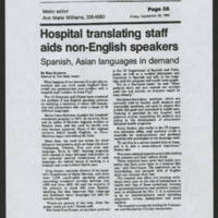"1990-09-28 Daily Iowan Article: """"Hospital translating staff aids non-English speakers"""" by Risa Grudena"