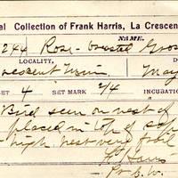 Frank Harris, egg card # fh004u