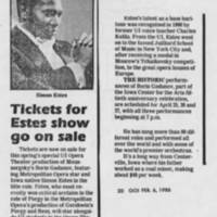 "1986-02-06 """"Tickets for Estes show go on sale"""""