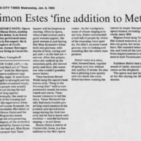 """1982-01-06 """"""""Simon Estes 'fine addition to Met'"""""""""""