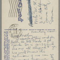 1946-01-28 Postcard Helen Fox Angell to Bessie Peebles Fox - back
