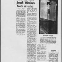"""May 1970 Iowa City Press-Citizen Article:  """"""""Protesters Here Smash Windows, Youth Arrested"""""""""""