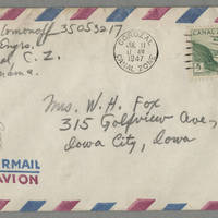 1947-07-11 George Solomanoff to Mrs. W.H. Fox Page 3 - Envelope