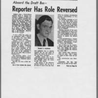 "1971-05-08 Iowa City Press-Citizen Article: """"Aboard the Draft Bus--Reporter Has Role Reversed"""" Page 1"