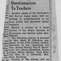 """1950-05-02 Burlington Hawkeye Gazette Article: """"Self Survey Questionnaires To Teachers"""""""