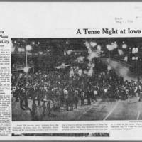 """1972-05-11 Des Moines Register Article: """"""""A Tense Night at Iowa City"""""""" Page 1"""