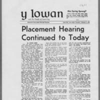 """1970-02-05 Daily Iowan Article: """"""""Placement Hearing Continued to Today"""""""""""
