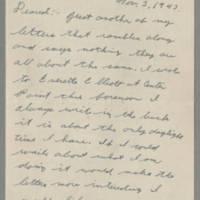 1943-11-03 Lloyd Davis to Laura Davis Page 1