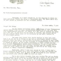 Tait Cummins letter to Nile Kinnick, January 22, 1940