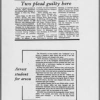 """1972-05-16 Daily Iowan Article: """"""""Two plead guilty here"""""""" Daily Iowan Article: """"""""Arrest student for arson"""""""""""