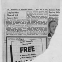 "1950-05-03 Burlington Hawkeye Gazette Article: ""Complete One Phase of Self Survey Here"""