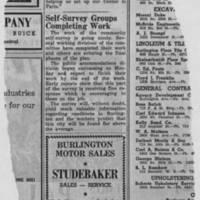 "1950-05-05 Burlington Hawkeye Gazette Article: ""Self-Survey Groups Completing Work"""