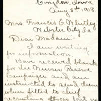 1918-08-08 Mrs. F.M. West to Mrs. Francis E. Whitley Page 1