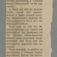 Latino-Native American Cultural Center newspaper clippings, 1972-1988