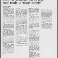 """1973-12-16 Des Moines Register Article: """"""""Antiwar protester out of jail; now ready to 'repay society'"""""""" Page 1"""
