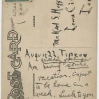 1917-08-23 Postcard: Bob Browning to Karl Hoffman Page 1