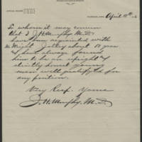 1916-04-18 Letter of Recommendation from J.H. Murphy for Mr. Wright Jolley