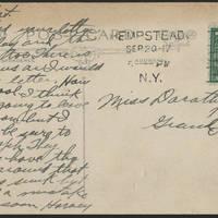 1917-09-20 Harvey Wertz to Miss Dorothy Wertz Postcard back