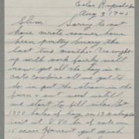 1945-08-03 George Davis to Lloyd Davis Page 1
